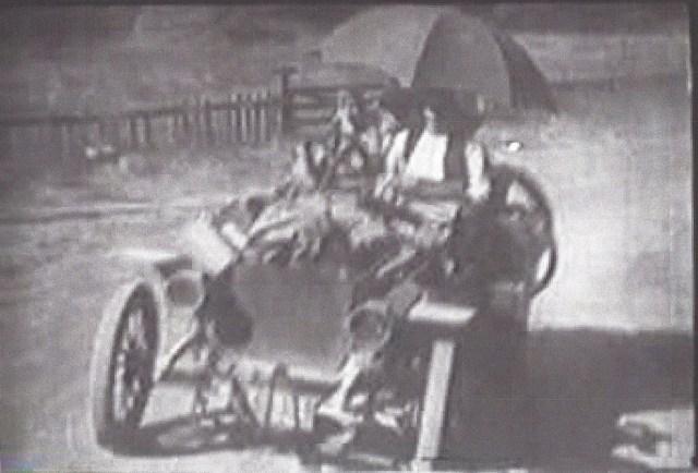 Auto approaching Felton Covered Bridge 1920's.