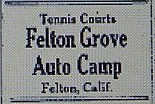 "Felton Grove Auto Camp ad listed under ""Summer Camps"" in Oakland Tribune, June 4, 1922, page 44"