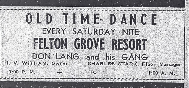 Felton Grove Resort Ad August 1939