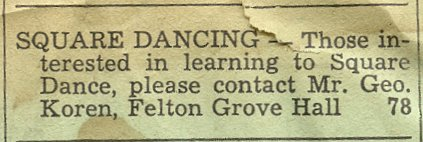 Circa 1952 Felton Grove Hall Square Dancing Ad