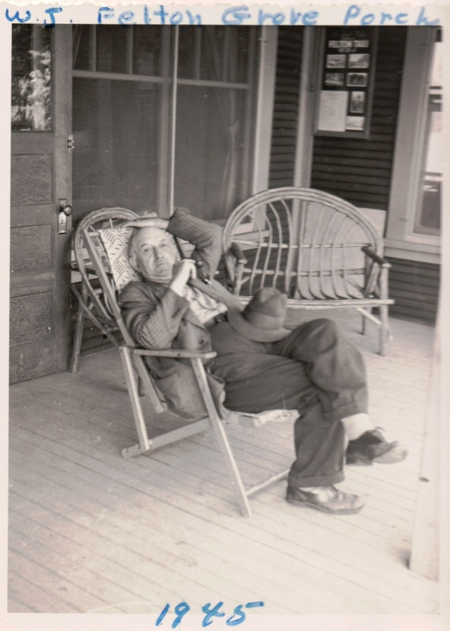 William James (WJ) Wright Felton Grove Hall Porch 1945. Courtesy Patsy Wright Collection