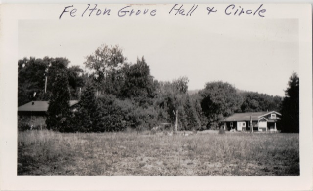 Felton Grove Hall and Circle #2. No sign on roof. 1930's? Patsy Wright Collection.