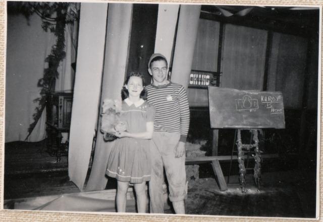 Felton Grove Hall 1947. Bob Wright and Patsy Klein. Patsy Wright Collection,