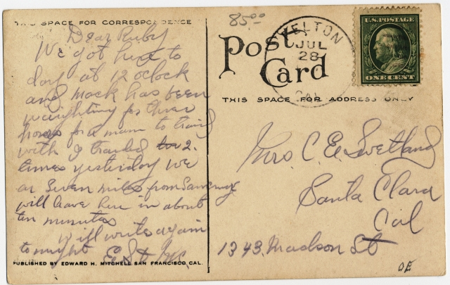 REAR of Covered Bridge Postcard Donated by Derek Whaley