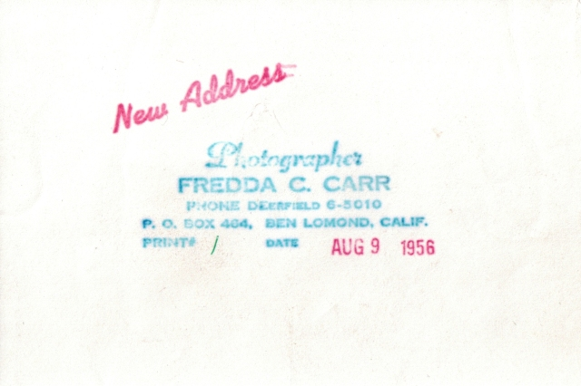 Rear of photo by Fredda Carr shows date 1956.