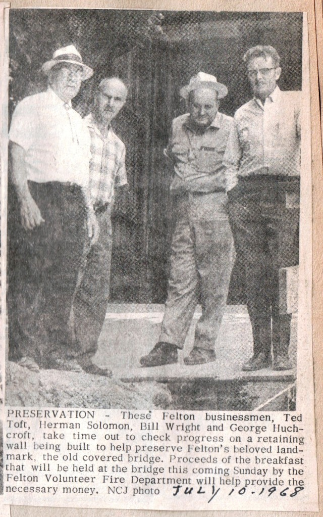 1968 Newspaper photo of Bill Wright and other businessmen on Felton Covered Bridge.