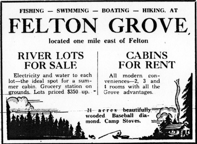June 1933 Sentinel Ad for Felton Grove. River lots for sale. Cabins for rent.
