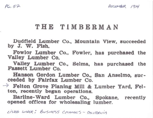 Felton Grove Planing Mill and Lumber Yard Listed in The Timberman, 1914.