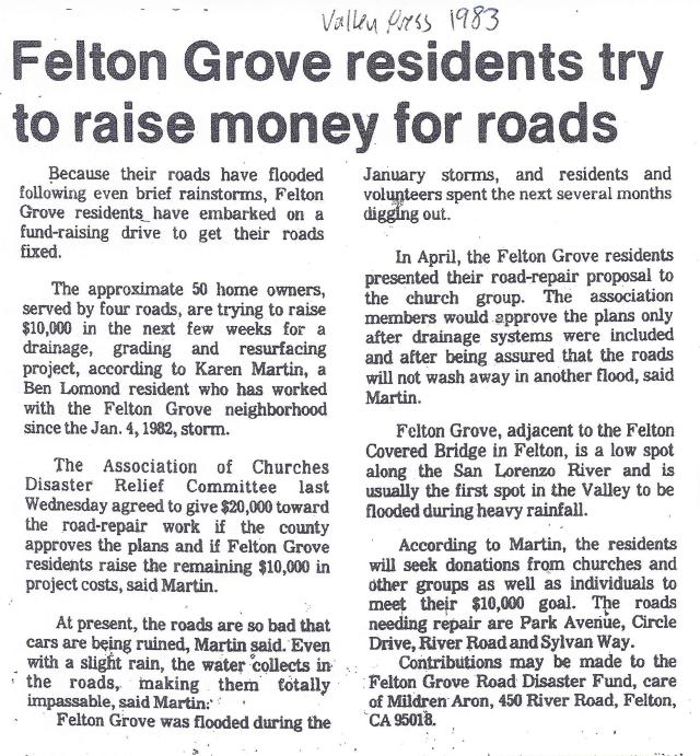 Felton Grove Roads 1983