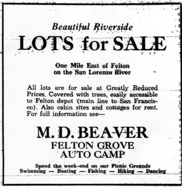 Felton Grove Auto Camp ad 1932