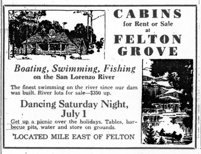 1933 ad Felton Grove Resort
