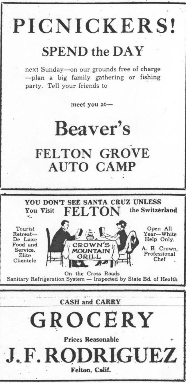 1932 ad for Felton Grove Auto Camp.