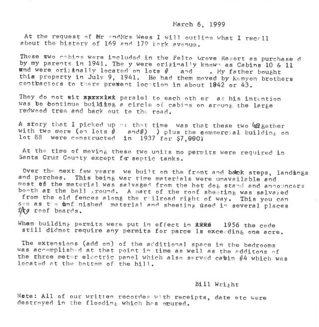 Bill Wright's Statement re: 2 homes on Park Ave. 1999.