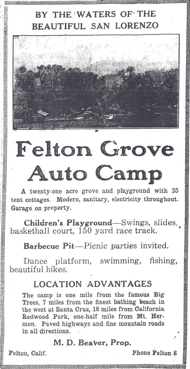 1924 Felton Grove Auto Camp ad. Courtesy of Randall Brown, Felton Historian.