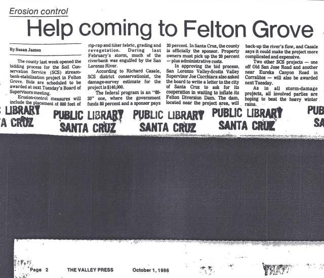1986 article about river bank stabilization in Felton Grove.
