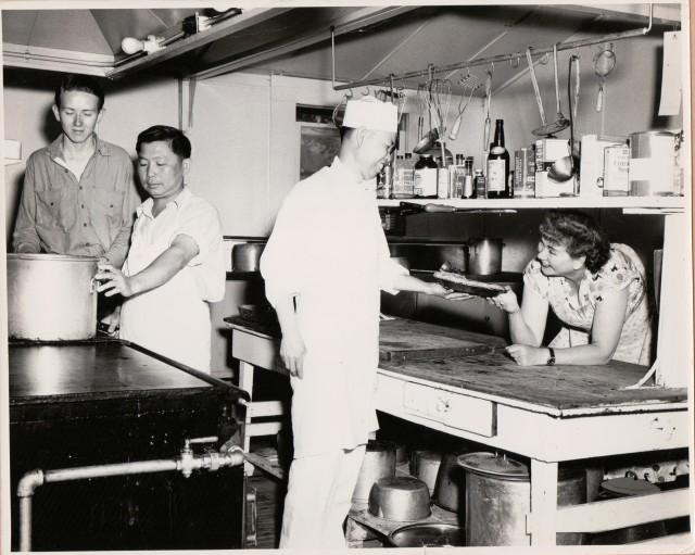 Kitchen at Captain Ed's Boyland Felton Grove, Aug. 1956. Photo by Fredda Carr.
