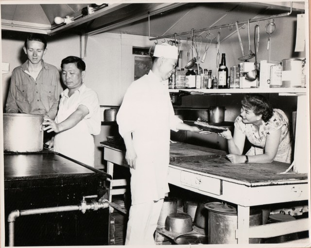 Kitchen at Captain Ed's Boyland Felton Grove, Aug. 1956. Photo by Fredda Carr.