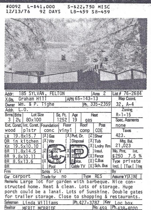 185 Sylvan Way sold for $22,750 in 1976.