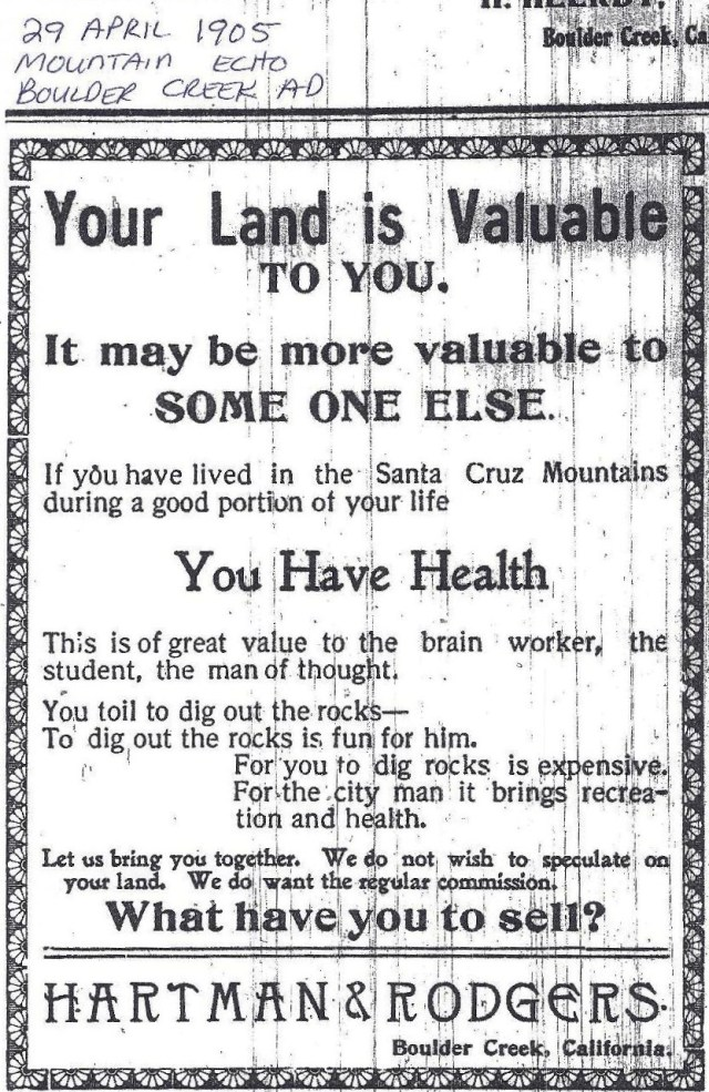 1905 Mtn Echo ad for land in SLV.