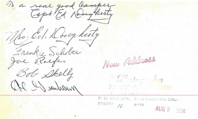 Back of Capt. Ed's official photo with signatures. 1956. Courtesy of Larry Rush.