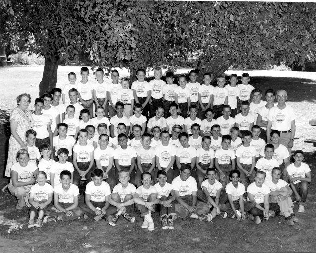 "Captain Ed's Boyland campers ""official"" photo, Courtesy of Larry Rush, one of Ed's ""Boys"". Photo by Fredda Carr 1956."