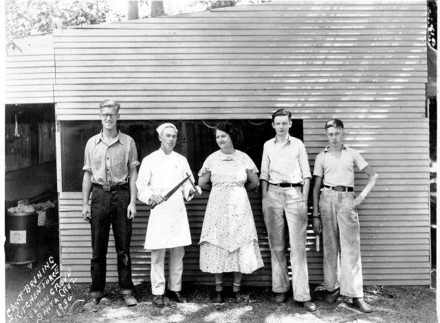 1936 Kitchen Staff at Felton Grove. Camp Bruning was later called Captain Ed's Boyland.