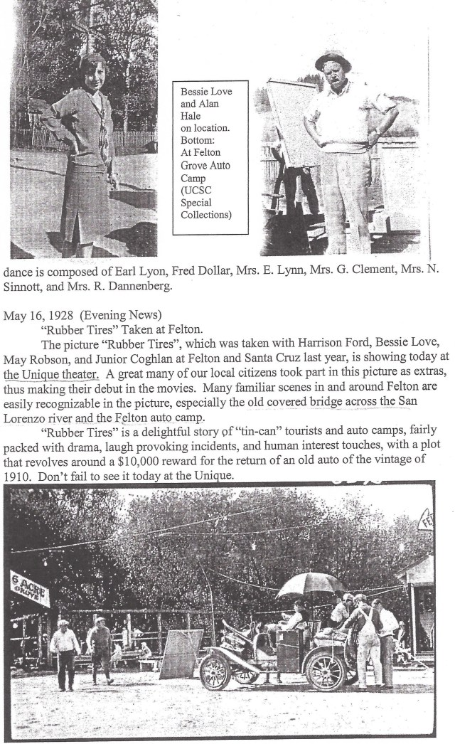1928 article about silent movie filmed in and around Felton Grove in 1927/28.