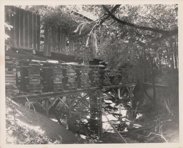 Felton Covered Bridge undergoing major repairs. Courtesy of MAH. Date unknown.