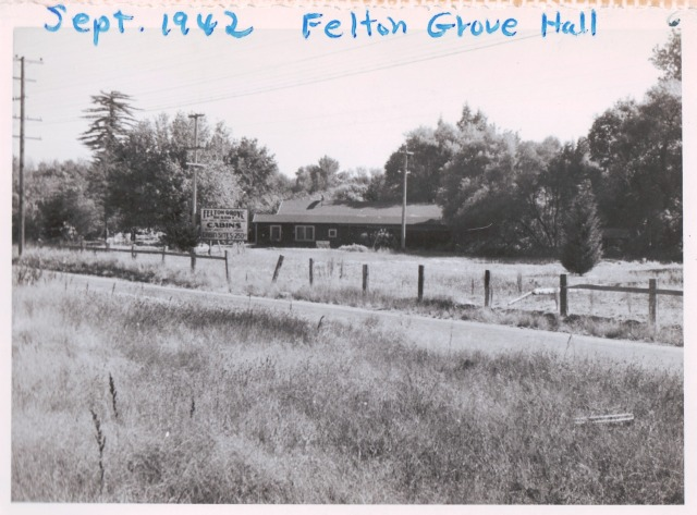 View of Felton Grove Hall from Graham Hill Rd 1942. Courtesy of Patsy Wright.