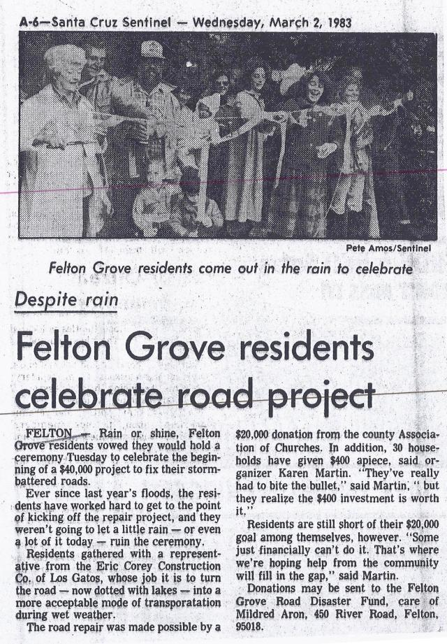 1983 Article Felton Grove Road Project