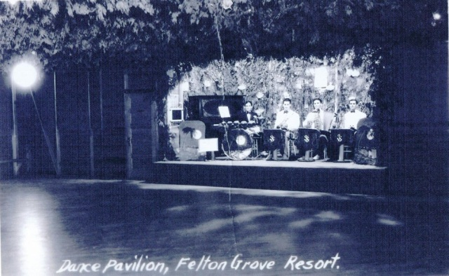 Bandstand inside Felton Grove Dance Hall, circa 1930's or 40's.