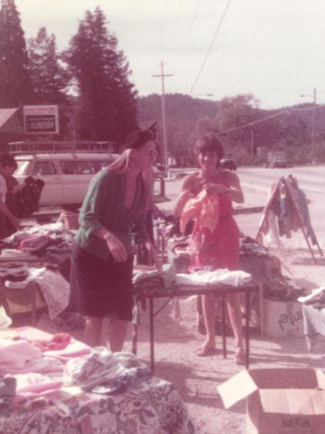 Felton Grove Flea Market run by Marianne Haglund, left and Vicki Wees, right, circa 1984.