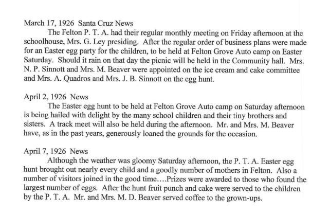 Articles about Easter at Felton Grove Auto Camp 1926.