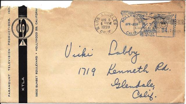 Romper Room envelope from KTLA, 1959