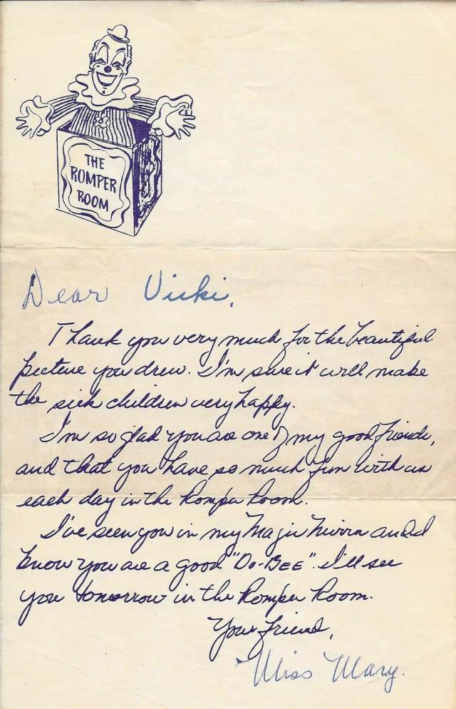 Vicki's Romper Room letter 1959