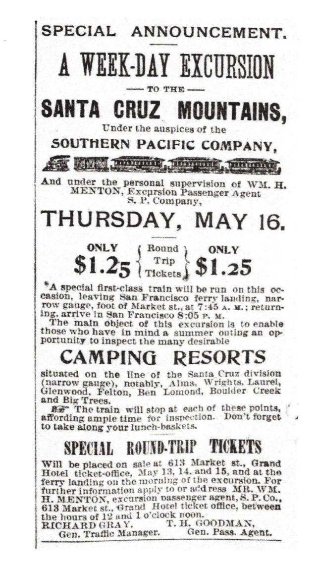 1895 ad in San Francisco Call. Courtesy of Randall Brown, Felton historian.