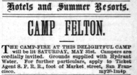 "Ad from San Francisco newspaper (""Alta"") for Camp Felton (now Felton Grove) circa 1870's."