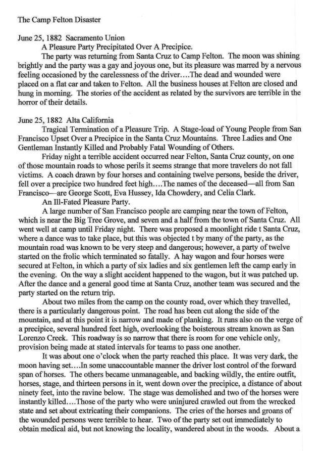 1882 Camp Felton (Felton Grove) Disaster Page 1.