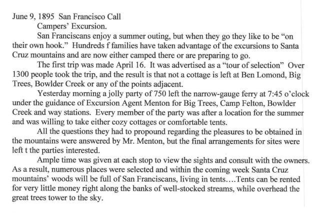 """June 9, 1895 article describing a """"Week-Day Excursion to the Santa Cruz Mountains"""" (including Camp Felton/Felton Grove). Courtesy of Randall Brown."""