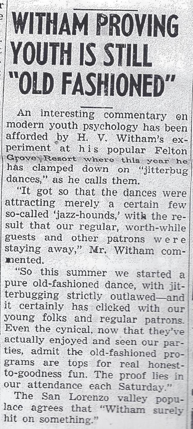 """July 1939 article about Jitterbugging being outlawed at Felton Grove Resort. No """"jazz hounds"""" allowed!"""