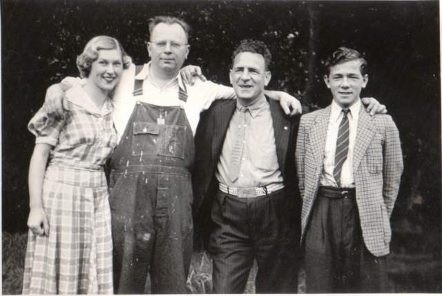1937 photo. Left to right: Felton residents 17 year old Thelma De Wald, her dad Alfred, H.V. Witham (Jitterbug hater) and his son Hamlin. Courtesy of Thelma (De Wald) Dalman, 2014, age 93. Thanks Thelma!