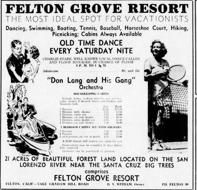 July 15, 1939 Santa Cruz Sentinel Ad for Felton Grove Resort, Courtesy of Randall Brown, Felton Historian.