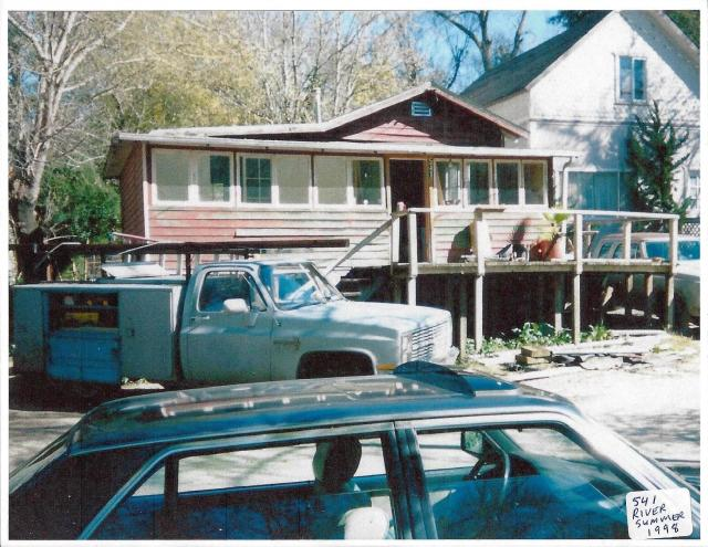 Summer 1998 before flood. 541 River Rd. and peek of Craig's house to right. Shawn's work truck and our BMW.