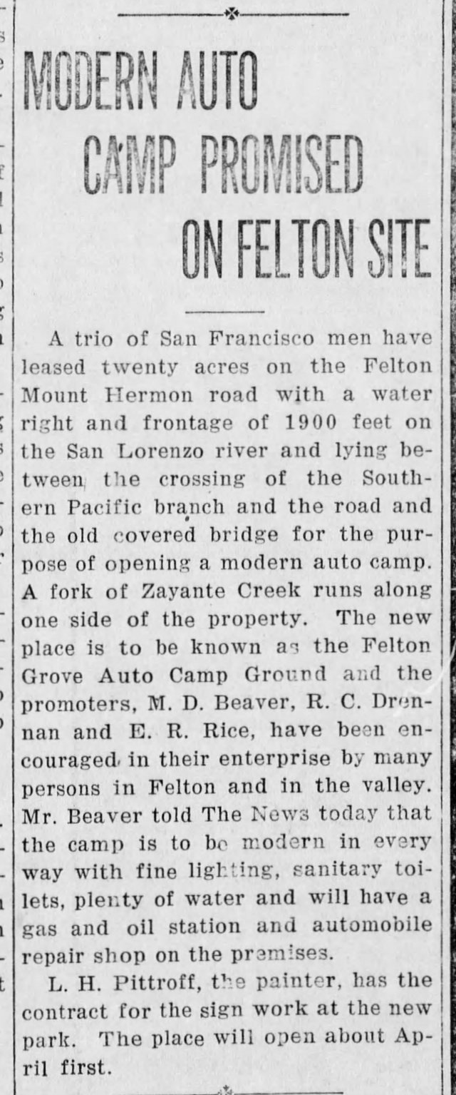 Feb 1922 Article: Felton Grove Auto Camp to open soon. Courtesy Randall Brown.