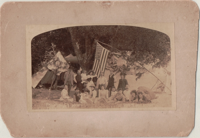 July, 1892. Earliest known photo of Felton Grove campers (called Maple Grove until someone realized they were Sycamore trees, not maples.)