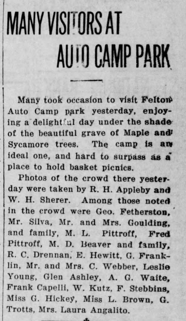 Felton Grove Auto Camp article. Santa Cruz Evening News. March 13, 1922