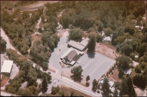 Undated aerial view of Felton Evangelical Free Church - later named changed to Felton Bible Church. Photo perhaps 1980s?