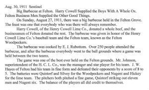 512 BBQ + baseball Sentinel article Aug 27 1911 Felton